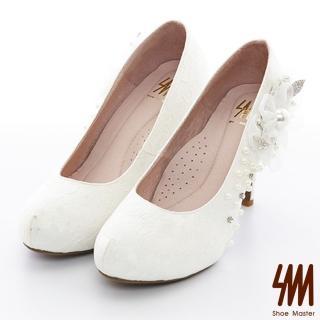 【SM】蕾絲珍珠花朵防水台小圓尖頭高細跟新娘鞋(蕾絲珍珠花朵尖頭新娘鞋)優惠推薦  SM