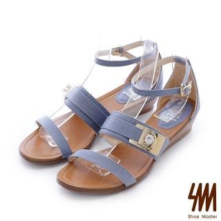 【SM】金屬水鑽飾釦一字低跟楔型涼鞋(一字低跟楔型涼鞋) 推薦  SM