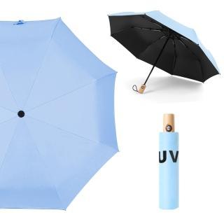 【幸福揚邑】降溫抗UV防風防撥水大傘面全自動開收木柄晴雨摺疊傘(淺藍) 推薦  幸福揚邑