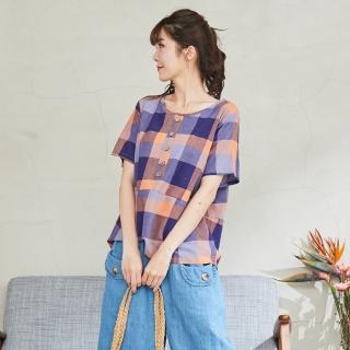 【*KatieQ 慢。生活】色織方格薄款寬上衣-F(紫) 推薦  *KatieQ 慢。生活