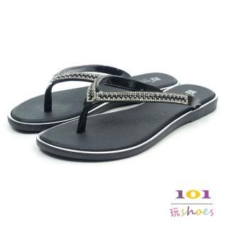 【101玩Shoes】亮墨雙鑽防水人字夾腳拖鞋(黑色.36-40碼)好評推薦  101玩Shoes