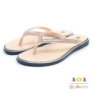 【101玩Shoes】亮墨雙鑽防水人字夾腳拖鞋(金色.36-40碼)折扣推薦  101玩Shoes