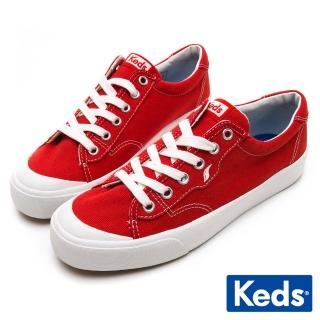 【Keds】CREW KICK 經典半月帆布綁帶休閒鞋(紅)  Keds