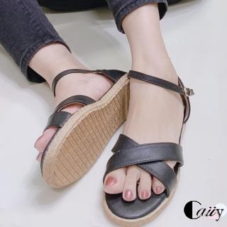 【Caiiy】極簡交叉平底涼鞋A67V1(黑色/白色)  Caiiy