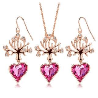 【RJ New York】生命之樹愛戀水晶項鍊耳環2件套組(玫瑰金)品牌優惠  RJ New York