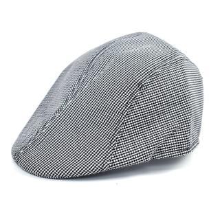 【玖飾時尚】鴨舌帽 滿版十字壓紋復古扁帽(帽子)  玖飾時尚