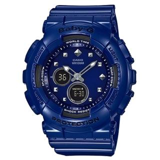 【CASIO 卡西歐】BABY-G 酷勁十足鉚釘運動錶-藍x43m(BA-125-2A)  CASIO 卡西歐