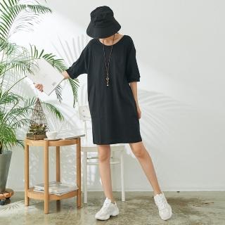 【*KatieQ 慢。生活】精紡棉後V領繭型連衣裙-M/L(黑)  *KatieQ 慢。生活