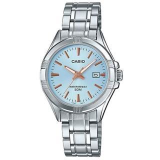 【CASIO 卡西歐】溫婉簡約不鏽鋼日期顯示指針少女錶-淺藍面X玫瑰金刻度(LTP-1308D-2A) 推薦  CASIO 卡西歐