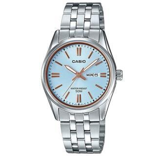 【CASIO 卡西歐】溫婉簡約不鏽鋼星期日期顯示指針少女錶-淺藍面X玫瑰金刻度(LTP-1335D-2A)  CASIO 卡西歐