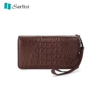 【Sarlisi】夏麗絲新款泰國鱷魚皮男士錢夾真皮長款錢包雙拉鏈手包商務手拿包  Sarlisi