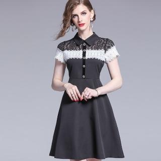 【a la mode 艾拉摩兒】肩上黑白撞色蕾絲素面裙洋裝(S-XL)  a la mode 艾拉摩兒