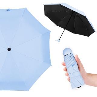【幸福揚邑】抗UV降溫8骨防風防潑水大傘面五折迷你晴雨口袋傘(淺藍)  幸福揚邑