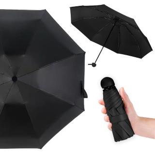 【幸福揚邑】抗UV降溫8骨防風防潑水大傘面五折迷你晴雨口袋傘(黑)評價推薦  幸福揚邑