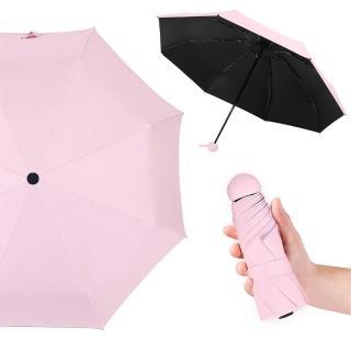 【幸福揚邑】抗UV降溫8骨防風防潑水大傘面五折迷你晴雨口袋傘(粉)評價推薦  幸福揚邑