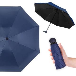【幸福揚邑】抗UV降溫8骨防風防潑水大傘面五折迷你晴雨口袋傘(深藍)優惠推薦  幸福揚邑