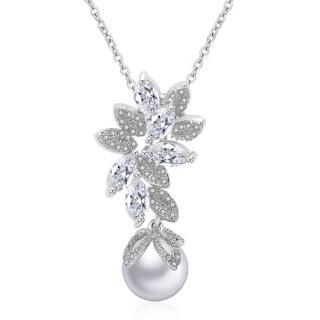 【RJ New York】燦爛星月天然貝珍珠鋯石項鍊(白金色)  RJ New York