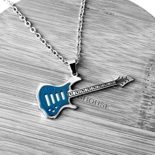 【玖飾時尚】音樂電吉他造型白鋼項鏈(鋼鍊) 推薦  玖飾時尚