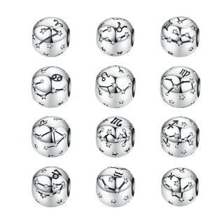 【RJ New York】十二星座s925銀晶鑽DIY串珠手鍊吊墬飾(12款可選)  RJ New York