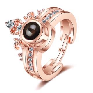 【RJ New York】華麗皇冠二合一我愛你水鑽情侶戒指(2色可選)  RJ New York