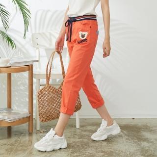 【*KatieQ 慢。生活】貼布造型棉料九分長褲-2XL/3XL(橘)好評推薦  *KatieQ 慢。生活