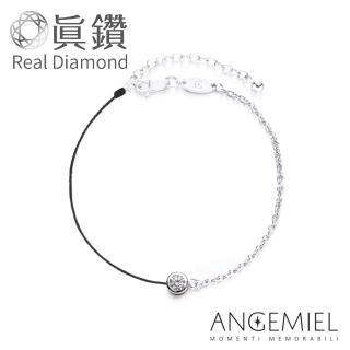 【Angemiel 安婕米】鑽石幸運半紅繩手鍊-永恆(銀 黑) 推薦  Angemiel 安婕米