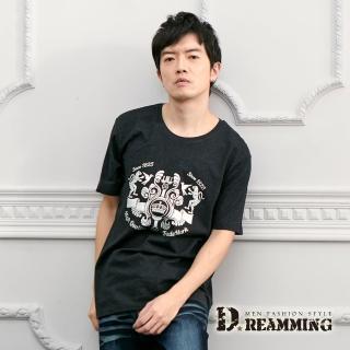 【Dreamming】花豹徽章棉質彈力休閒圓領短T(共二色)  Dreamming