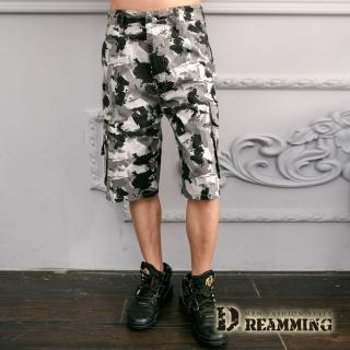 【Dreamming】街頭潑畫迷彩休閒側袋工作短褲(灰白)  Dreamming