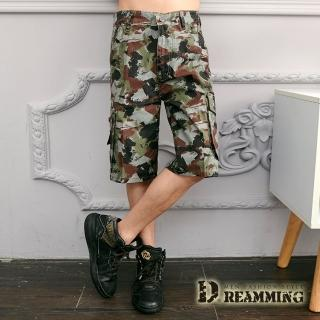 【Dreamming】街頭潑畫迷彩休閒側袋工作短褲(綠褐)優惠推薦  Dreamming