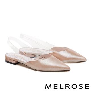 【MELROSE】時尚金屬麂皮拼接透明後繫帶低跟鞋(金)  MELROSE