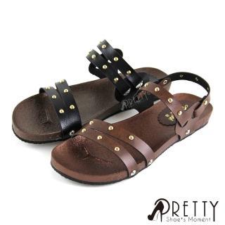 【Pretty】細線條圓形鉚釘兩穿式平底涼拖鞋(咖啡色、黑色)好評推薦  Pretty