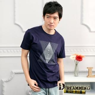 【Dreamming】菱形幾何線條萊卡彈力圓領短T(共二色)好評推薦  Dreamming