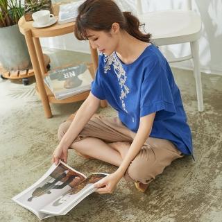 【*KatieQ 慢。生活】抽象刺繡落肩寬版上衣-F(黃/藍)  *KatieQ 慢。生活