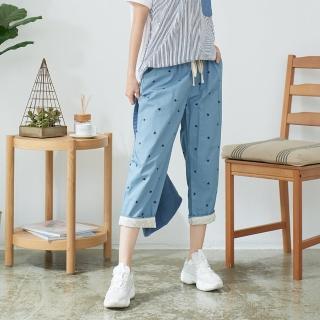 【*KatieQ 慢。生活】清新舒活休閒七分褲-L/XL/XXL(淺藍)折扣推薦  *KatieQ 慢。生活