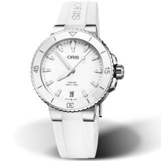 【ORIS 豪利時】Aquis時間之海300米潛水機械錶(0173377314151-0741863FC 白)  ORIS 豪利時