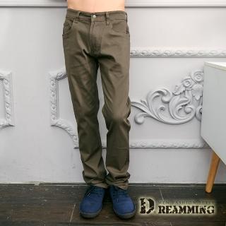 【Dreamming】極簡百搭素面彈力休閒長褲(褐綠)  Dreamming