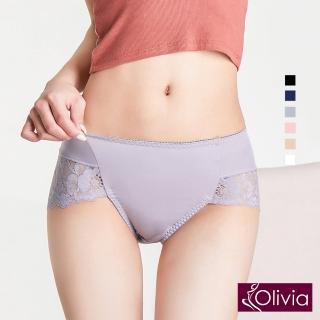 【Olivia 奧莉葳】性感高叉牛奶絲蕾絲高腰內褲-灰色  Olivia 奧莉葳