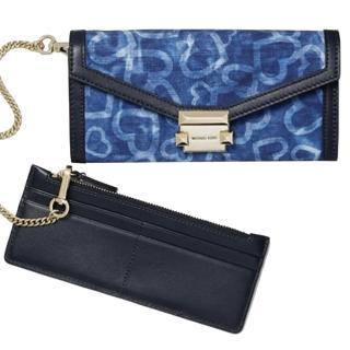 【Michael Kors】專櫃款Whitney深藍X單寧藍織紋布長夾+票卡零錢包  Michael Kors