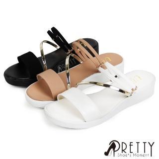 【Pretty】仿金屬線條感兩穿式厚底涼拖鞋(白色、黑色)評價推薦  Pretty