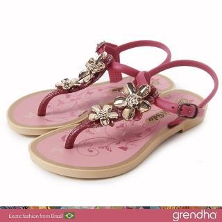 【GRENDHA】金屬霓采花漾涼鞋-女童(玫紅/金)好評推薦  GRENDHA