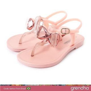 【GRENDHA】金屬風夢幻蝴蝶結平底涼鞋-女童(粉橘)  GRENDHA