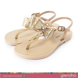 【GRENDHA】金屬風夢幻蝴蝶結平底涼鞋-女童(金色)好評推薦  GRENDHA