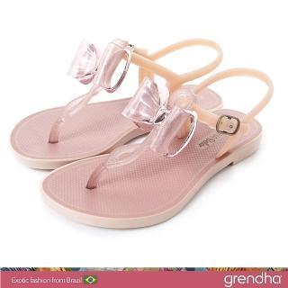 【GRENDHA】金屬風夢幻蝴蝶結平底涼鞋-女童(玫瑰金)  GRENDHA