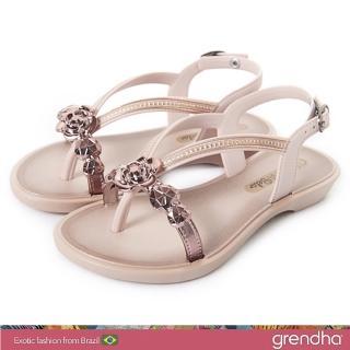 【GRENDHA】晶鑽玫瑰平底涼鞋-女童(玫瑰金)優惠推薦  GRENDHA