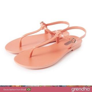 【GRENDHA】極簡亮面T字帶平底涼鞋(珊瑚粉)  GRENDHA