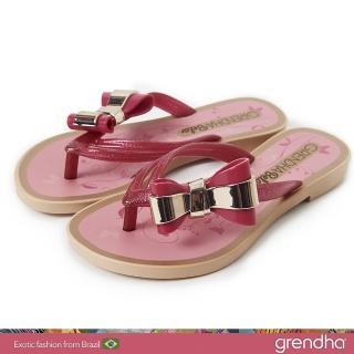 【GRENDHA】金屬霓采蝴蝶夾腳鞋-女童(玫紅/金)優惠推薦  GRENDHA