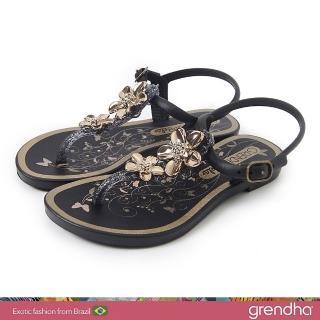 【GRENDHA】金屬霓采花漾涼鞋-女童(黑色/金)優惠推薦  GRENDHA