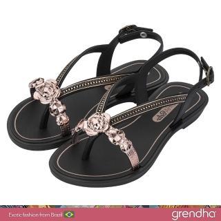 【GRENDHA】晶鑽玫瑰平底涼鞋-女童(黑色)  GRENDHA