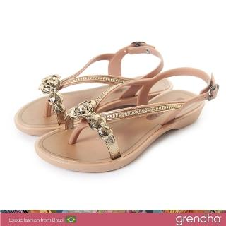 【GRENDHA】晶鑽玫瑰平底涼鞋-女童(褐色)優惠推薦  GRENDHA