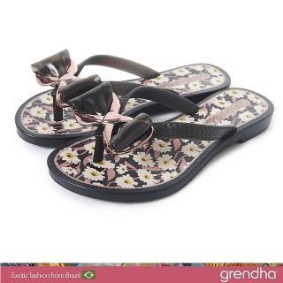 【GRENDHA】瑪格麗特蝴蝶結夾腳鞋-女童(黑色)好評推薦  GRENDHA